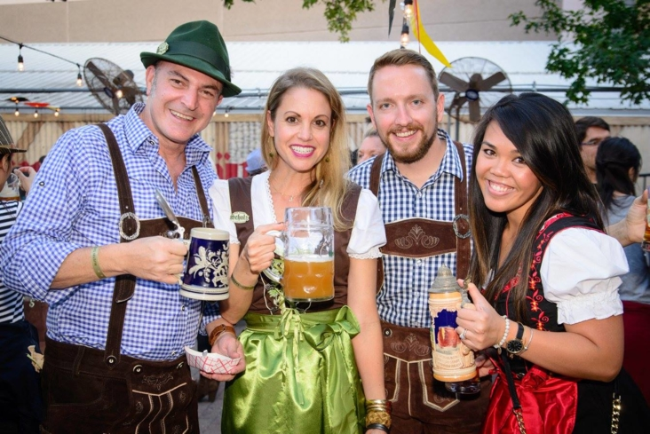 Austinites in style celebrating Oktoberfest