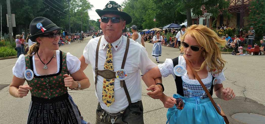 Guests decked in their finest lederhosens dance at Oktoberfest in La Crosse