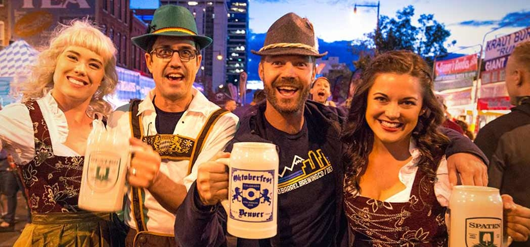 Celebrate Oktoberfest with ledehosens and a stein full of beer