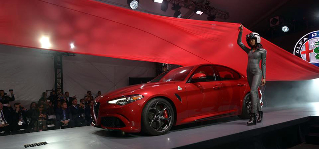 The Alfa Romeo on display during the LA Auto Show