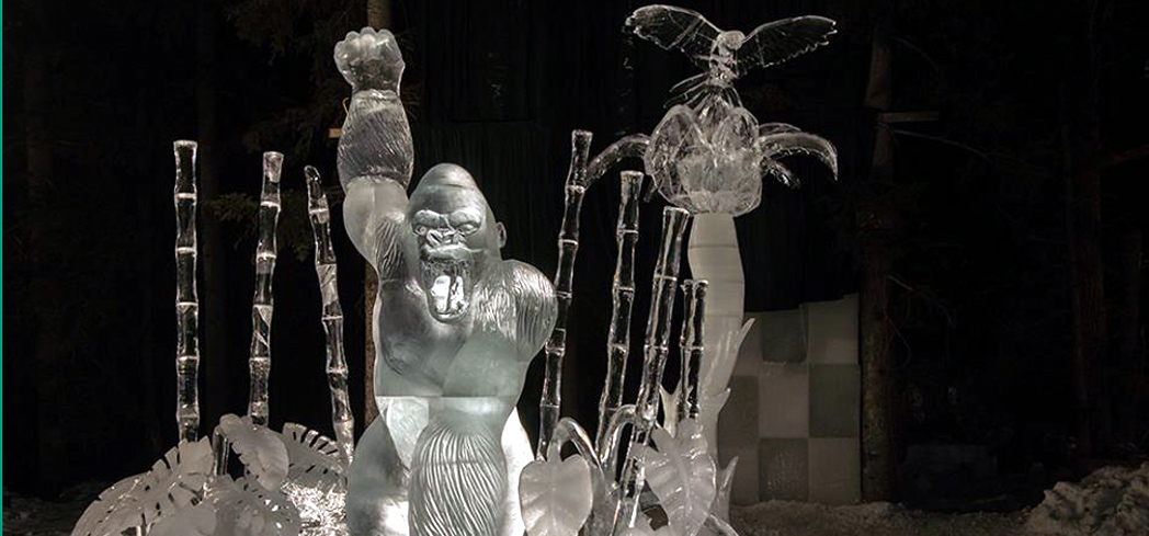 "2016 ""Protecting the Nest"" on display during the World Ice Art Championships"