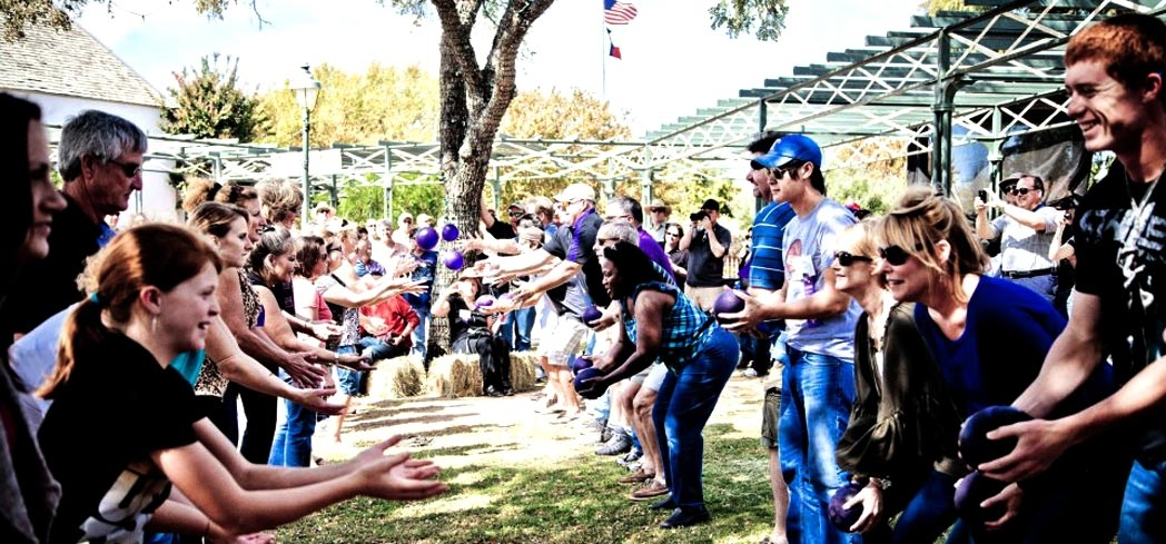 The grape toss at the Fredericksburg Fest
