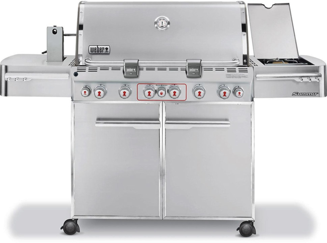 The Weber Summit S-670 Stainless Steel Grill features a stainless steel exterior, authentic smoker box and burner