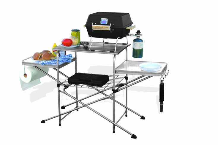 The Camco Grilling Table is portable, convenient and easy to set up for outdoor prep and cooking
