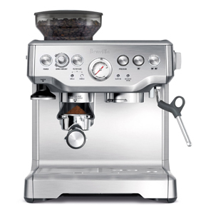 Breville's BES870XL Barista Express is a top-of-the-line espresso machine with a built-in burr grinder