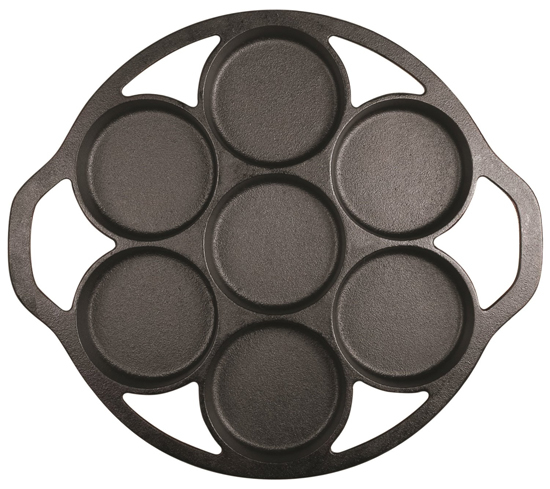 The Lodge Cast Iron Drop Biscuit Pan can also be used for baking brownies, cornbread and English muffins