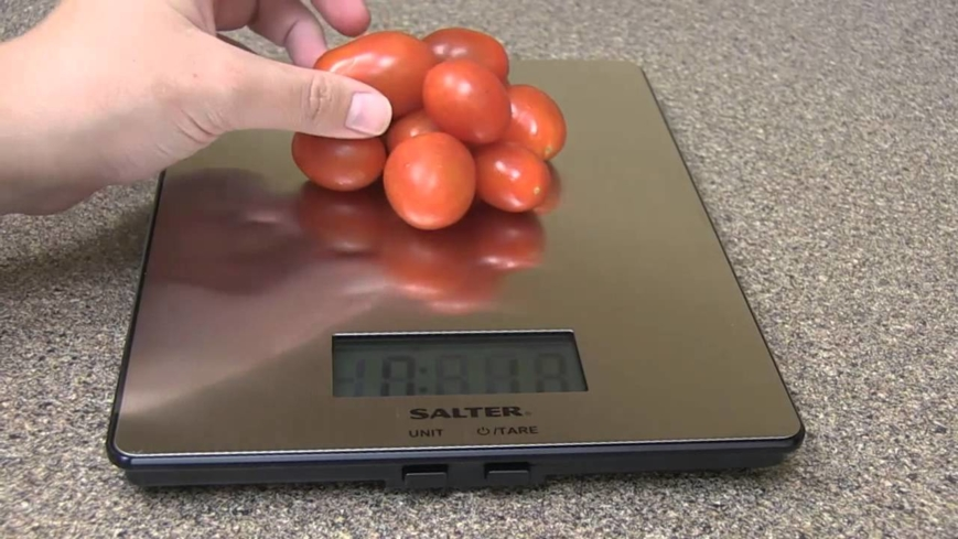 The Salter Stainless Steel Electronic Scale measures up to 5 pounds