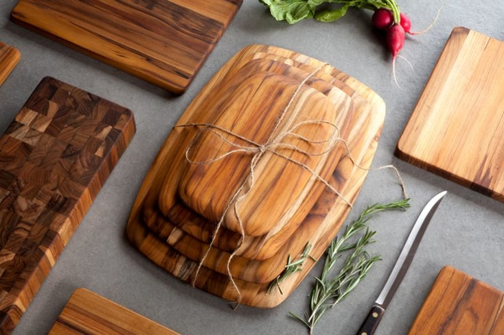 Teakhaus's richly grained cutting board is crafted from organically grown teak