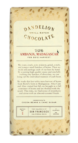 Dandelion Chocolate's Ambanja, Madagascar bar has notes of citrus fruit and raspberry