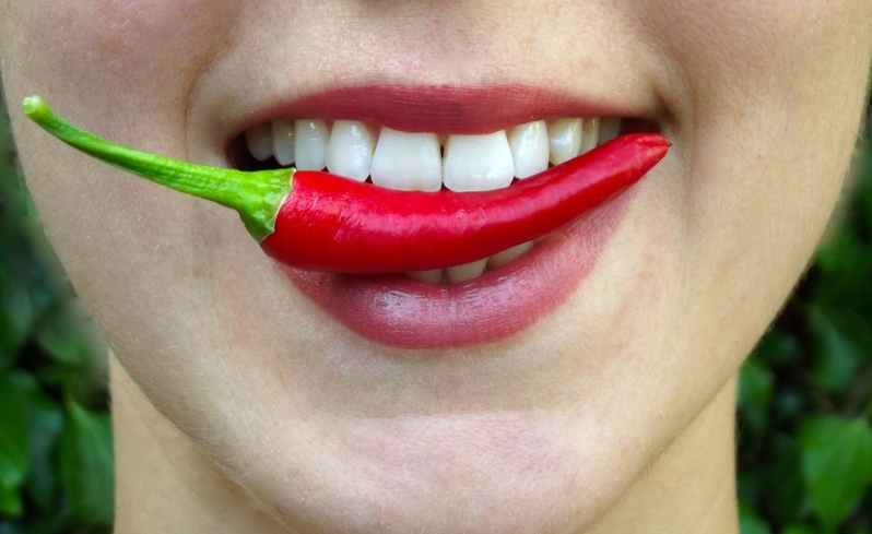 The capsaicin in chili peppers causes an enticing plumping of the lips