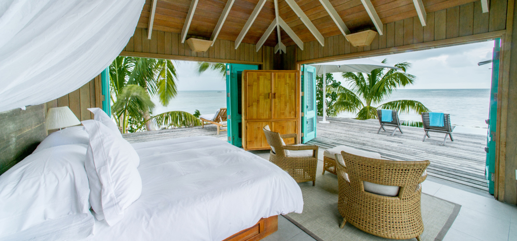 A guest room at Cayo Espanto, located off the coast of Belize