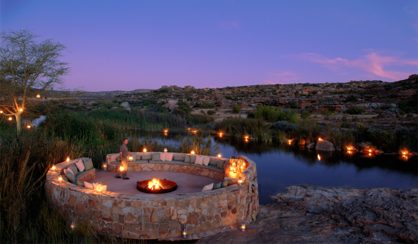 The Patio at the Bushmans Kloof Wilderness Reserve & Wellness Retreat overlooking the River Boma