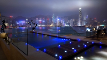 The view from the Presidential Suite at the Intercontinental, Hong Kong