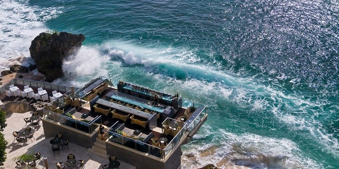 An aerial view of the Rock Bar at AYANA Resort and Spa