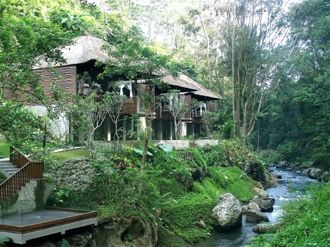 The exterior of the deluxe pool villa at Maya Ubud Resort & Spa