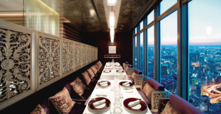 The Signature dining room overlooking the city