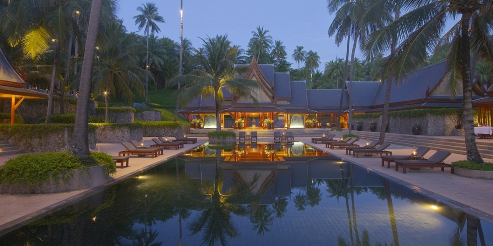 An aerial view of the Amanpuri hotel in Phuket.