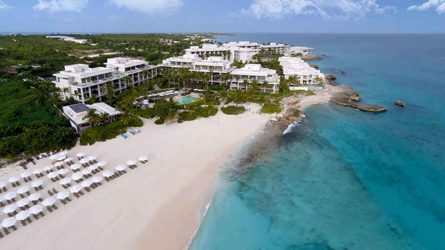 An aerial overview of Meads Bay Beach at the Viceroy Anguilla