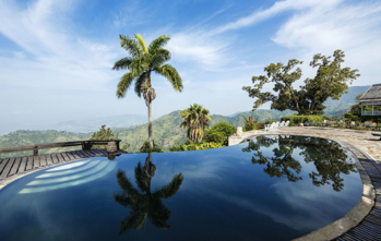 View from the infinity pool at the Strawberry Hill Hotel