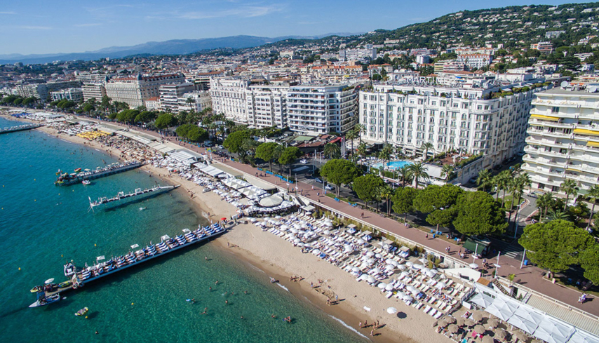 A bird's eye view of the Grand Hyatt Cannes Hôtel Martinez