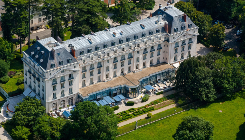 An aerial view of the Trianon Palace Versailles