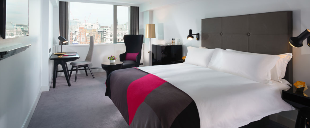 The deluxe room at the Mondrian London at Sea Containers.