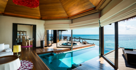 The Ocean Pavilion's living area with a private pool
