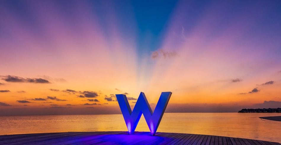The W Retreat & Spa Maldives Sea Plane Dock at sunset