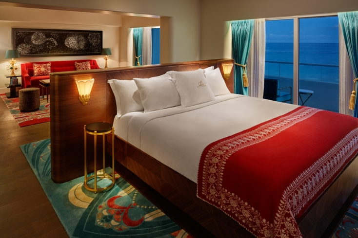 One of the suites at Faena Hotel Miami Beach.