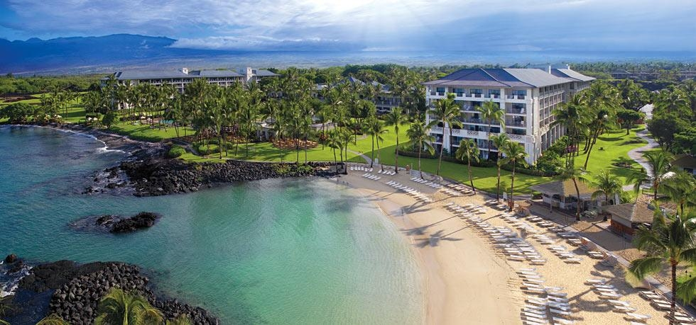 An aerial, exterior view of the Fairmont Orchid Hawaii