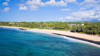 An aerial overlook of The Grand Hyatt Kaui Resort & Spa