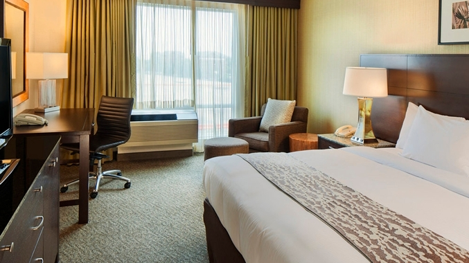 One of the rooms at the DoubleTree Club by Hilton Hotel Boston Bayside.
