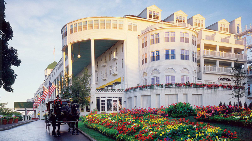 The historic Grand Hotel in Mackinac Island, Michigan