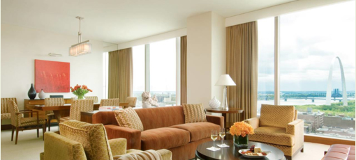 A suite at the Four Seasons Hotel St. Louis in Missouri.