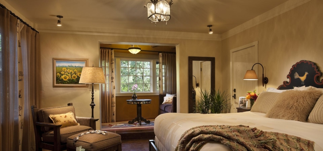 A Deluxe King Bed Room at La Fonda on the Plaza in Santa Fe, New Mexico.