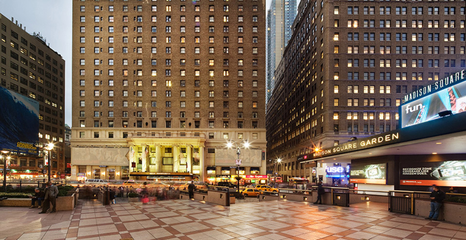 The unbeatable location of the Hotel Pennsylvania - just across the street from Penn Station