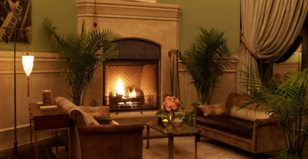 The Soho Grand's club room fire place