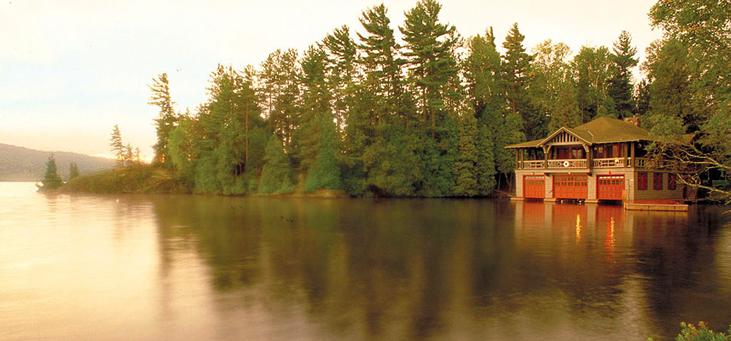 The boathouse at The Point in Saranac Lake, Upstate New York