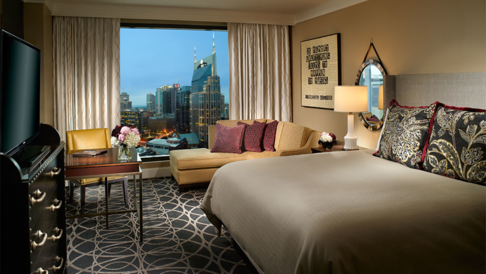 The deluxe room at The Omni Nashville Hotel.