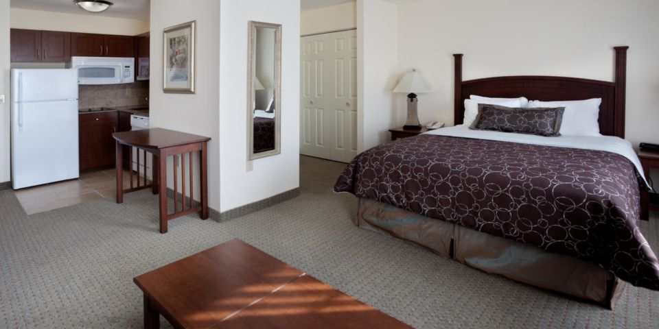 One of the rooms at the Staybridge Suites Austin Airport