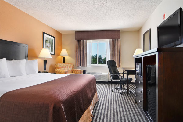 One of the rooms at the Baymont Inn & Suites DallasLove Field.