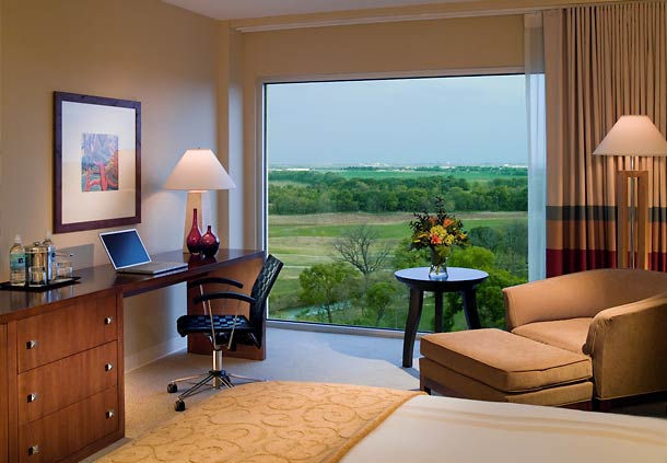 One of the rooms at the Dallas/Fortworth Marriot Hotel & Golf Club.