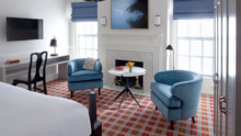 The lounge in a Kimpton Morrison House guest room