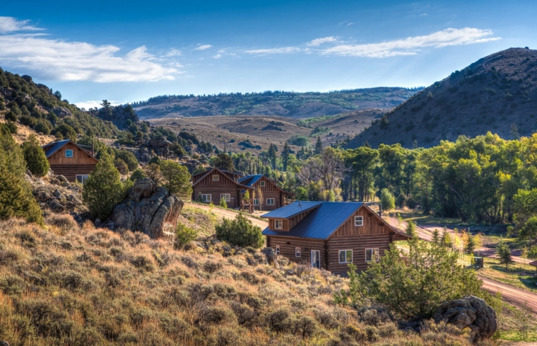 View of The Lodge & Spa at Brush Creek Ranch.