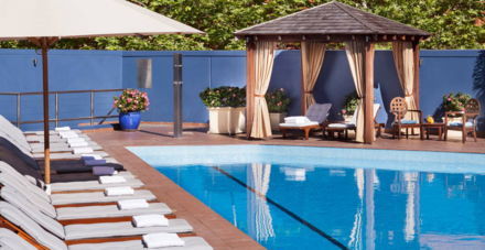 The outdoor heated pool