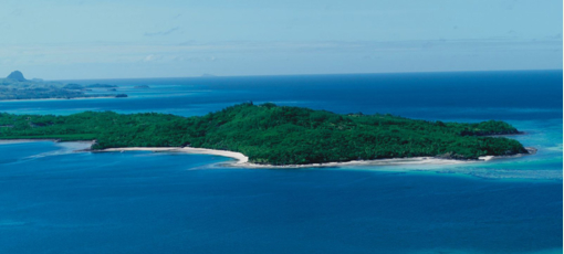 An aerial view of Turtle Island Fiji