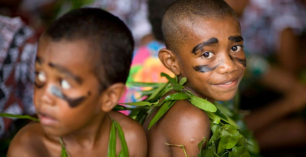 Children preparing for the Kava Ceremony