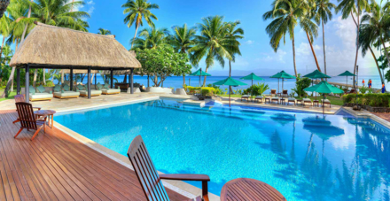 Poolside at the Jean Michael Cousteau Fiji Islands Resort