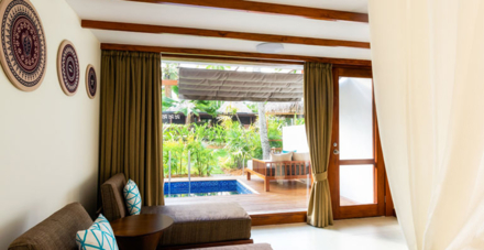 The Spa Suite's Bedroom and Private Patio