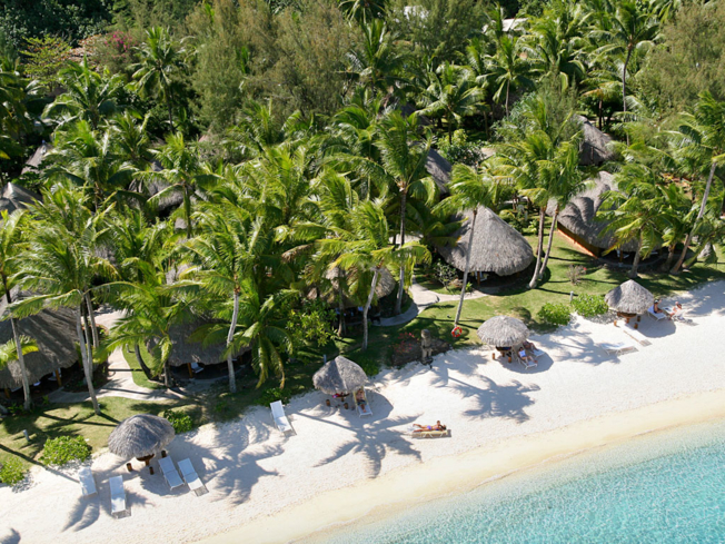 An aerial view of the Sofitel Bora Bora Private Island.